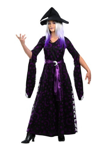 Womens Plus Size Purple Moon Witch Costume 1X 2X