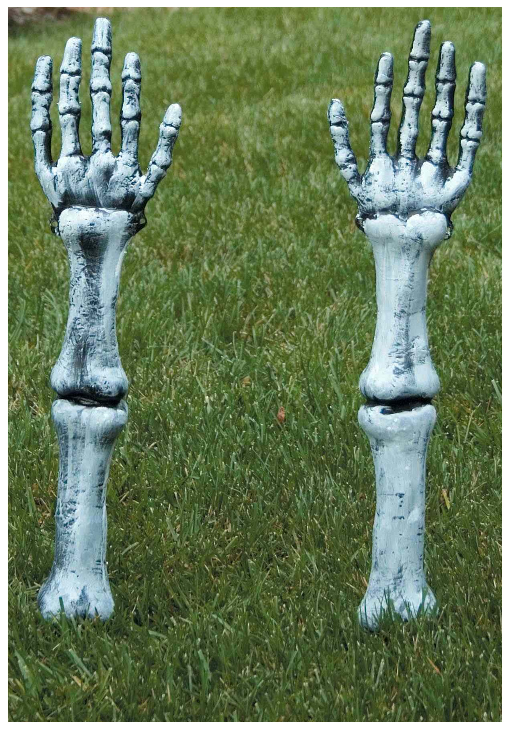 Scary Halloween Lawn Decorations - Skeleton arm lawn stakes