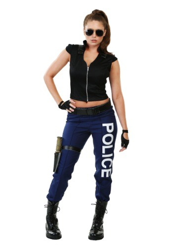 Click Here to buy Womens Tactical Police Plus Size Costume from HalloweenCostumes, CDN Funds
