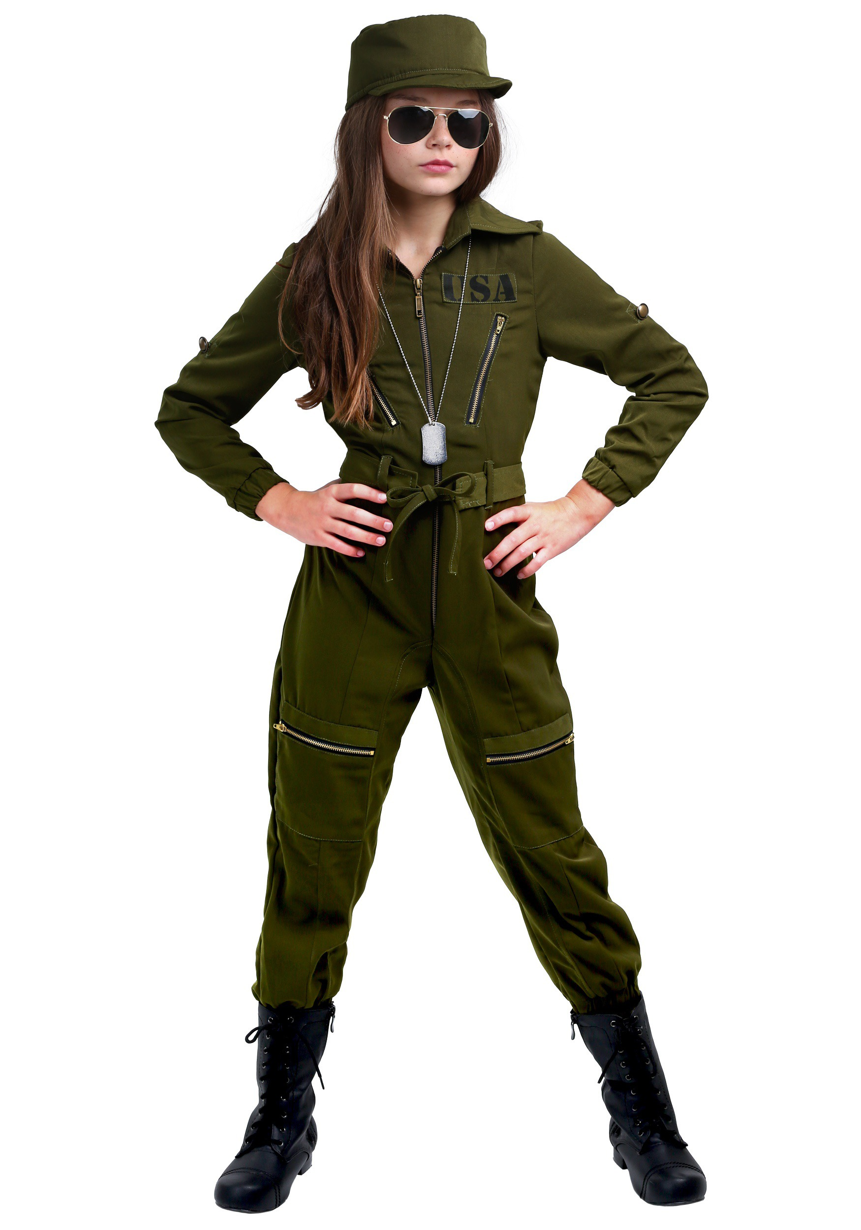 Girls Army Flightsuit Costume  sc 1 st  Halloween Costumes & Army Flightsuit Costume for Girls