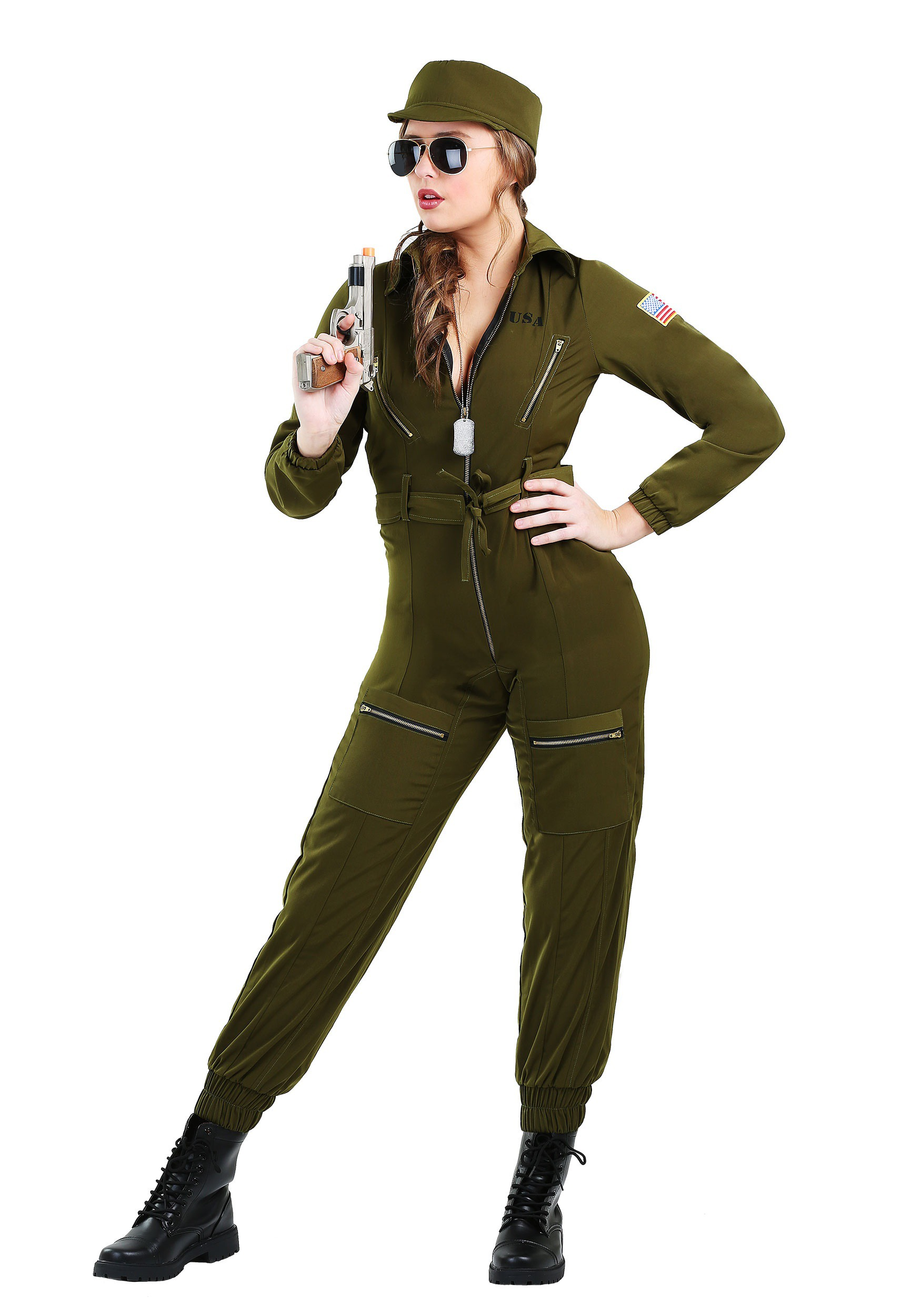 Plus Size Army Flightsuit Costume for Women 1X 2X a5ac2ac09