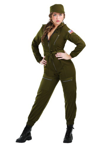 Plus Size Army Flightsuit Costume for Women