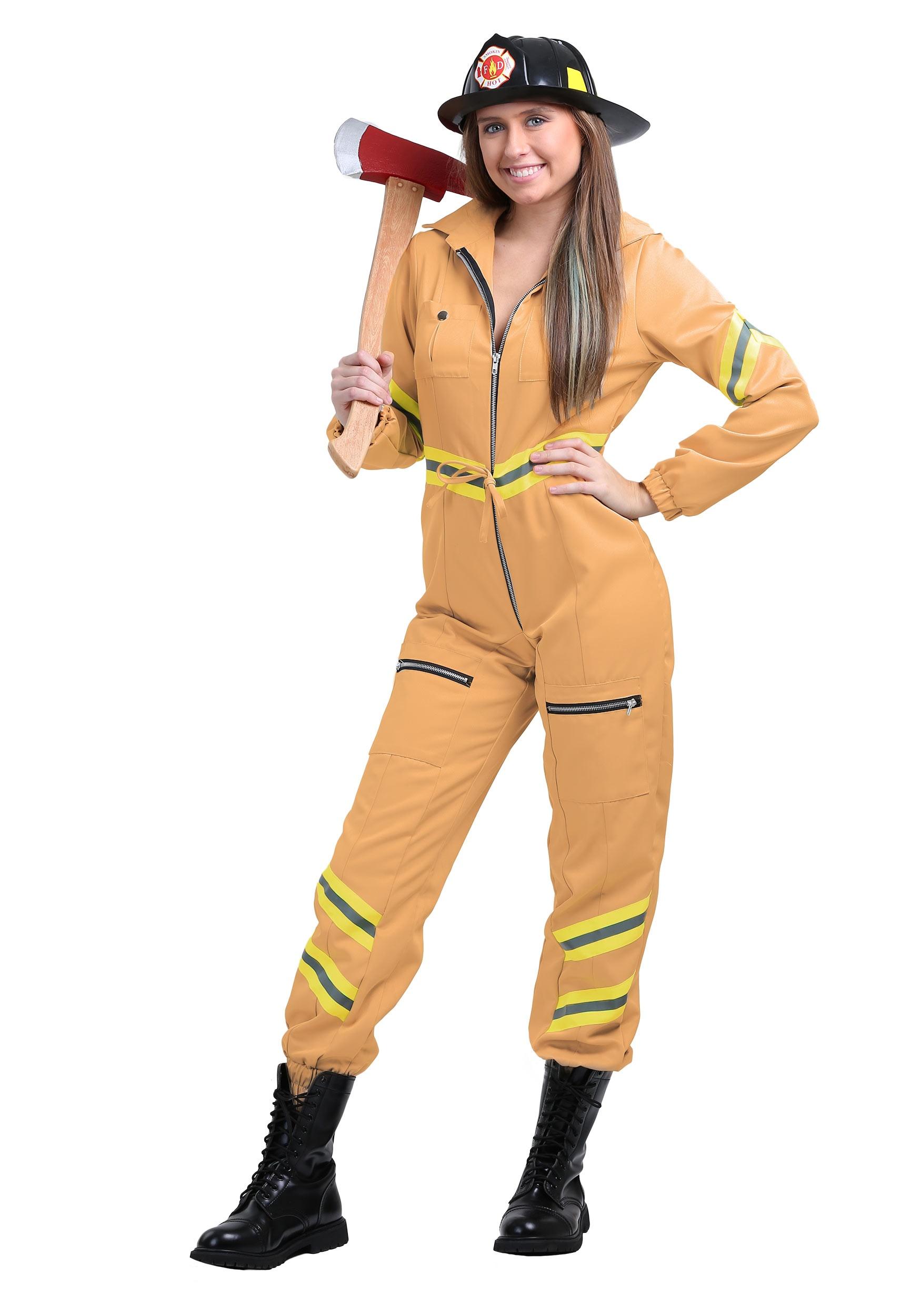 Tan Firefighter Jumpsuit Costume In Women S Plus Size 1x 2x