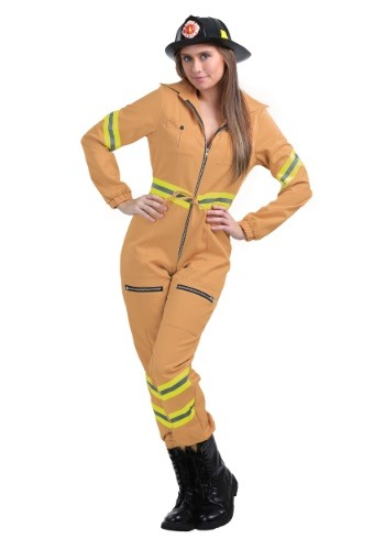 Click Here to buy Tan Firefighter Jumpsuit in Womens Plus Size from HalloweenCostumes, USA Funds & Shipping