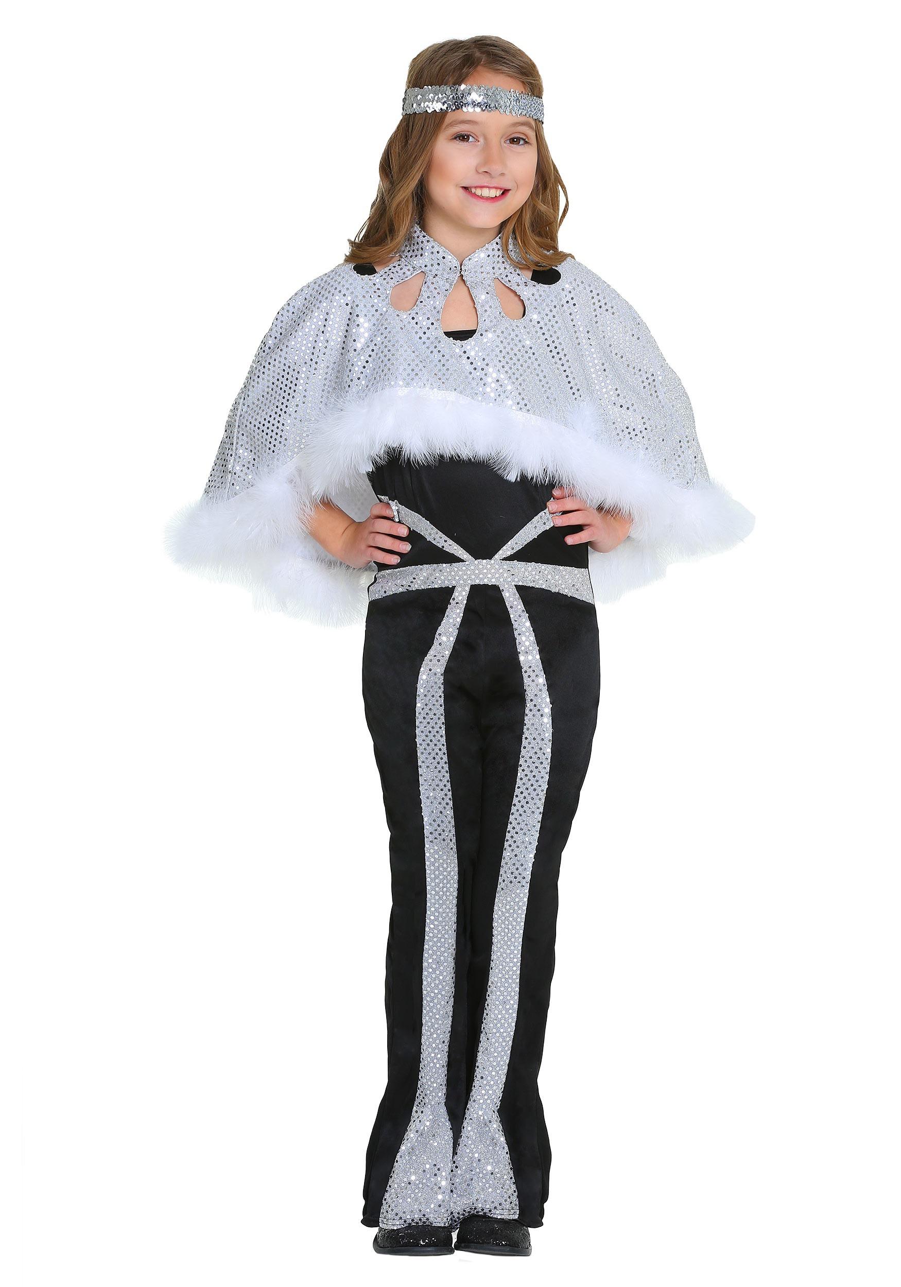b784ab92103 Dazzling Silver Disco Girls Costume