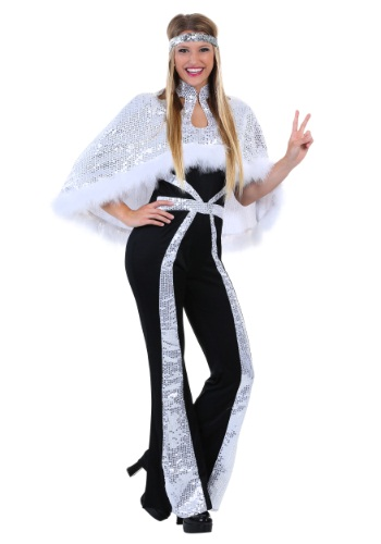Click Here to buy Dazzling Silver Disco Womens Costume from HalloweenCostumes, CDN Funds
