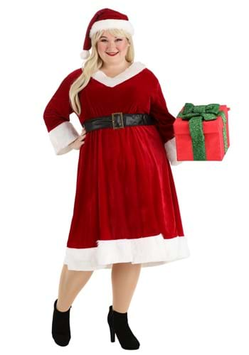 Click Here to buy Plus Size Santa Claus Sweetie Womens Costume from HalloweenCostumes, CDN Funds