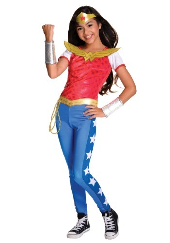 Click Here to buy DC Superhero Girls Deluxe Wonder Woman Costume from HalloweenCostumes, CDN Funds