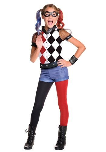 DC Superhero Deluxe Harley Quinn Costume for Girls