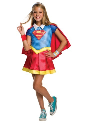 Click Here to buy DC Superhero Girls Supergirl Deluxe Costume from HalloweenCostumes, CDN Funds