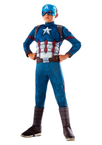 Click Here to buy Boys Captain America Deluxe Kids Costume from HalloweenCostumes, USA Funds & Shipping