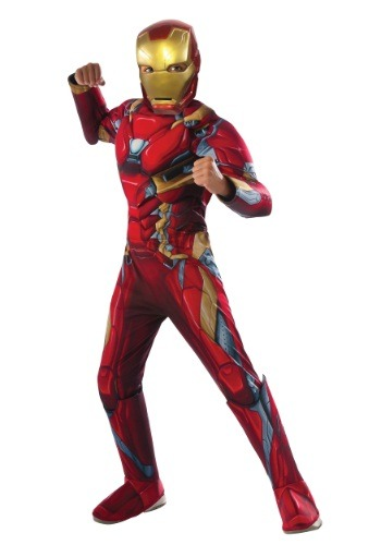 Click Here to buy Boys Civil War Iron Man Deluxe Costume from HalloweenCostumes, CDN Funds