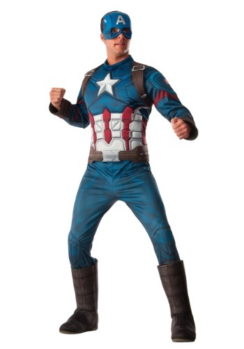 Click Here to buy Deluxe Captain America Mens Costume from HalloweenCostumes, CDN Funds
