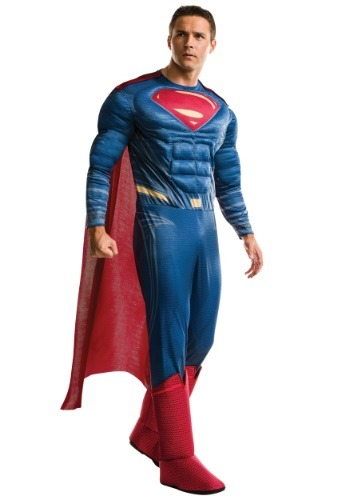 Men's Plus Size Deluxe Dawn of Justice Superman Costume RU17996