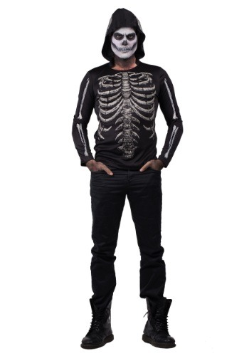 Click Here to buy Mens Bare Bones Glow in the Dark Hooded Shirt from HalloweenCostumes, USA Funds & Shipping