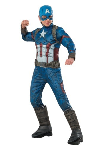 [Boys Elite Civil War Captain America Costume] (Captain America Boys Costumes)