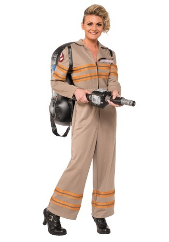Click Here to buy Womens Deluxe Ghostbusters Movie Costume from HalloweenCostumes, USA Funds & Shipping