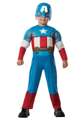 Click Here to buy Toddler Deluxe Captain America Costume from HalloweenCostumes, CDN Funds