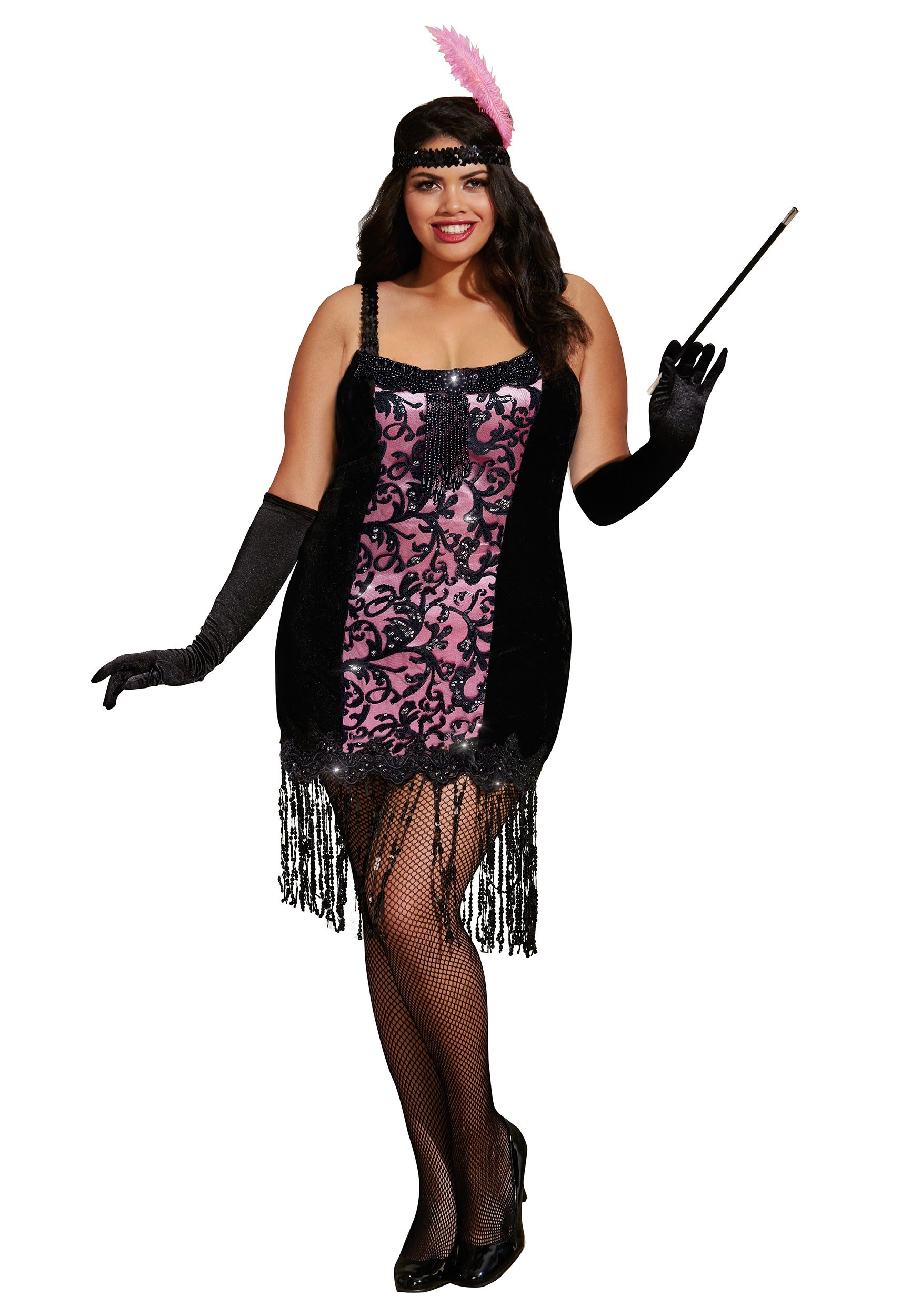 Plus Size Cotton Club Cutie Flapper Costume  sc 1 st  Halloween Costumes & Plus Size Flashy Flapper Costume 1X/2X 3X/4X