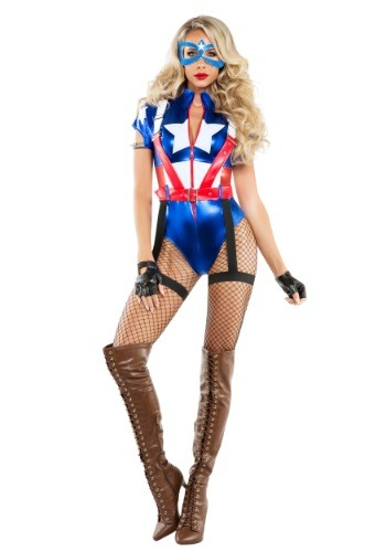 Click Here to buy Womens Captain USA Costume from HalloweenCostumes, USA Funds & Shipping