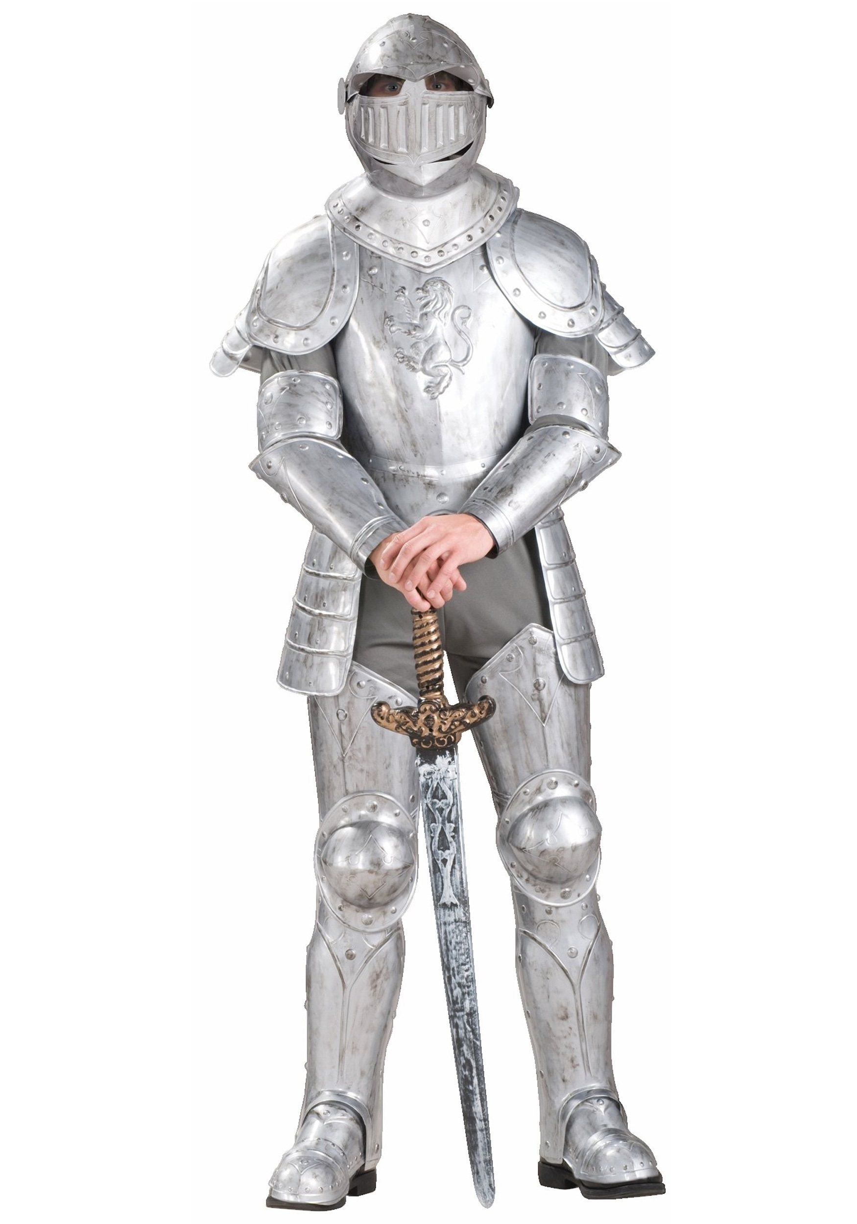The adult knight costume includes a grey, polyester shirt, pants and hood.