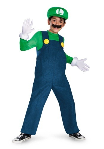 Click Here to buy Boys Deluxe Luigi Costume from HalloweenCostumes, USA Funds & Shipping