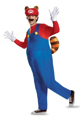 Click Here to buy Adult Deluxe Mario Raccoon Costume from HalloweenCostumes, CDN Funds