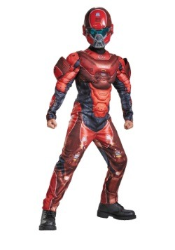 Child Halo Red Spartan Muscle Chest Costume