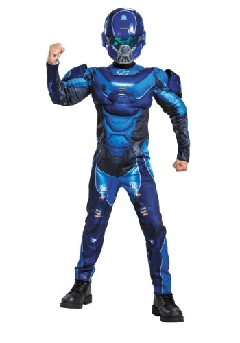 Click Here to buy Kids Halo Blue Spartan Muscle Chest Costume from HalloweenCostumes, USA Funds & Shipping
