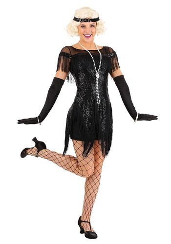 Lady wearing black flapper Flirt Costume For Women with headband