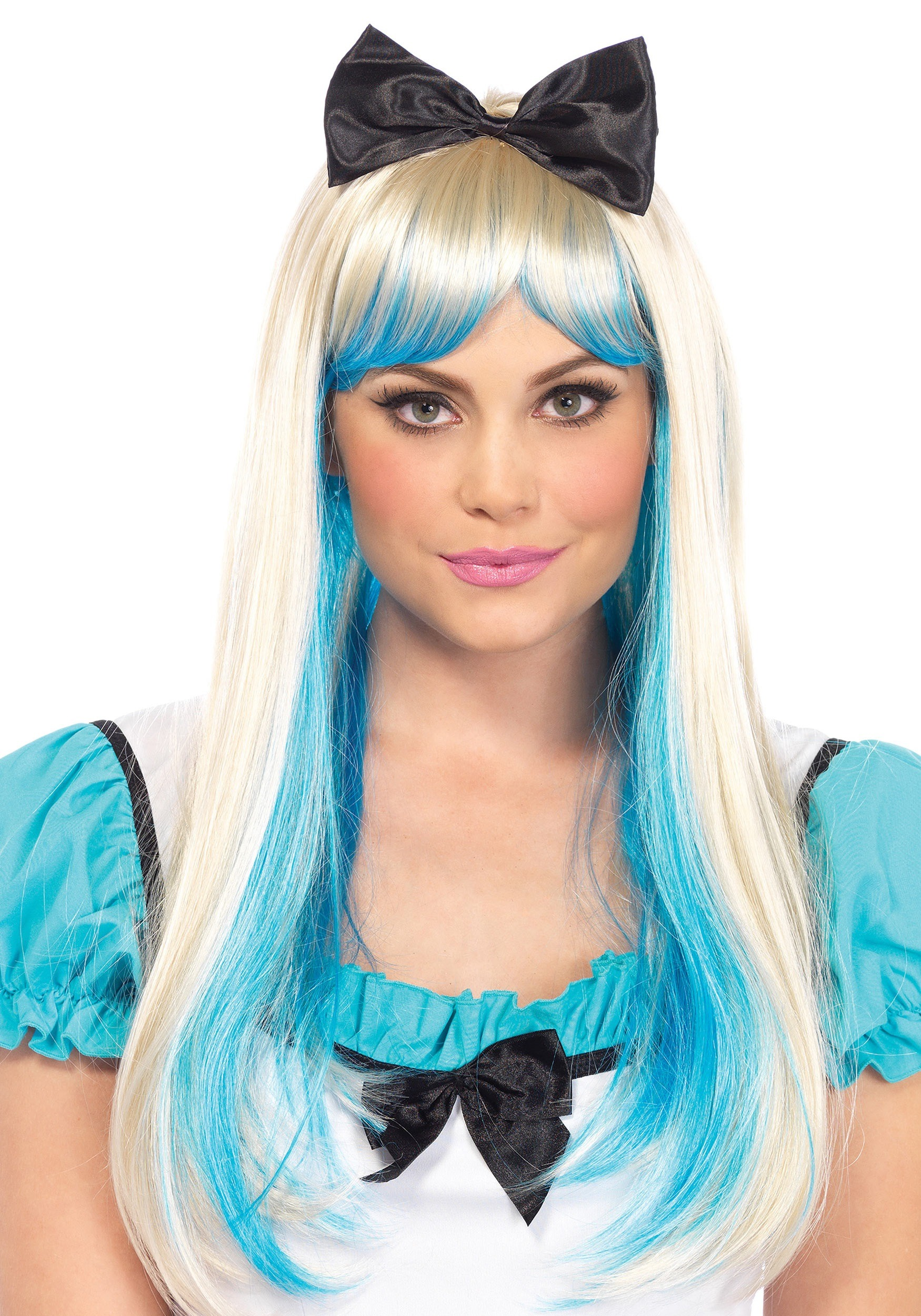 This cool Alice Two Tones Wig in blue and blonde puts a trendy twist on Alice's classic blonde hairstyle. A large black bow is fastened into the long platinum blonde hair.