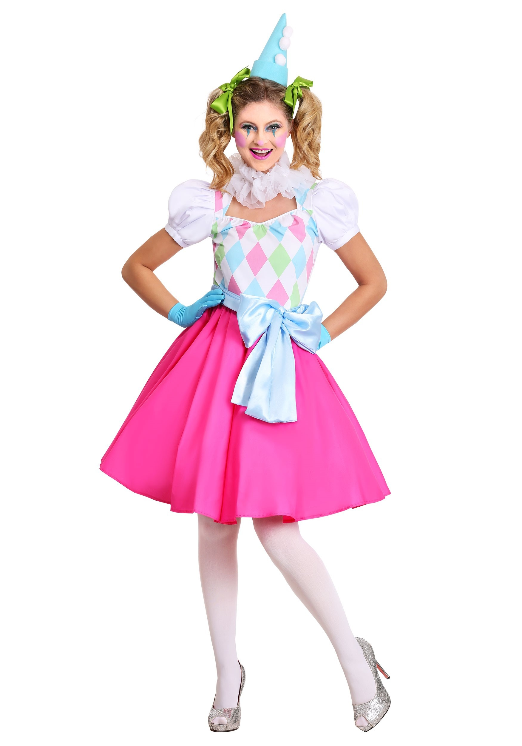 Cotton Candy Clown Costume For Women-9305