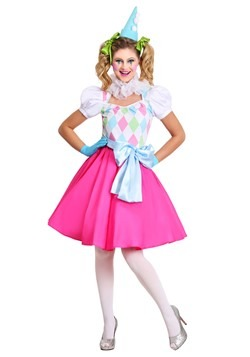 Cotton Candy Clown Womens Costume