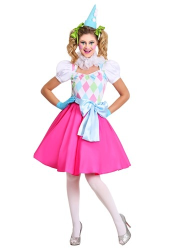 Cotton Candy Clown Women's Costume