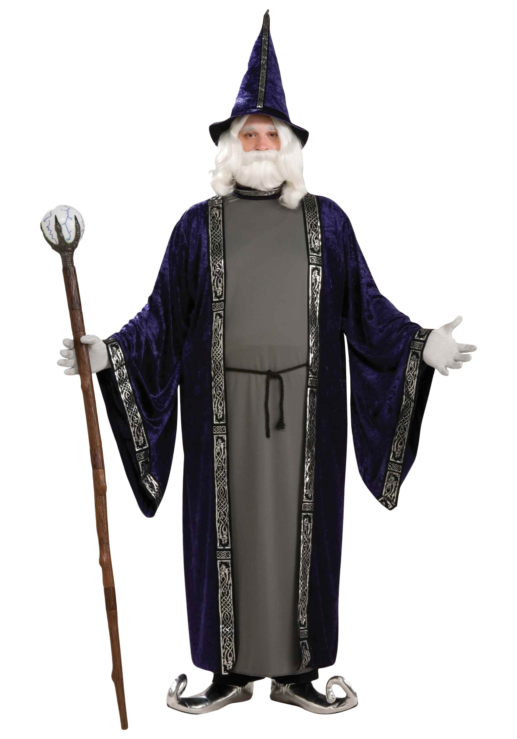 PLUS SIZE WIZARD COSTUME Merlin set for adults men in a plus sizing with robe belt and hat