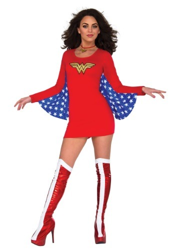 Click Here to buy DC Womens Wonder Woman Cape Dress from HalloweenCostumes, USA Funds & Shipping