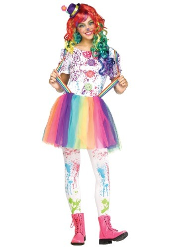 Click Here to buy Teen Crazy Color Clown Costume from HalloweenCostumes, USA Funds & Shipping