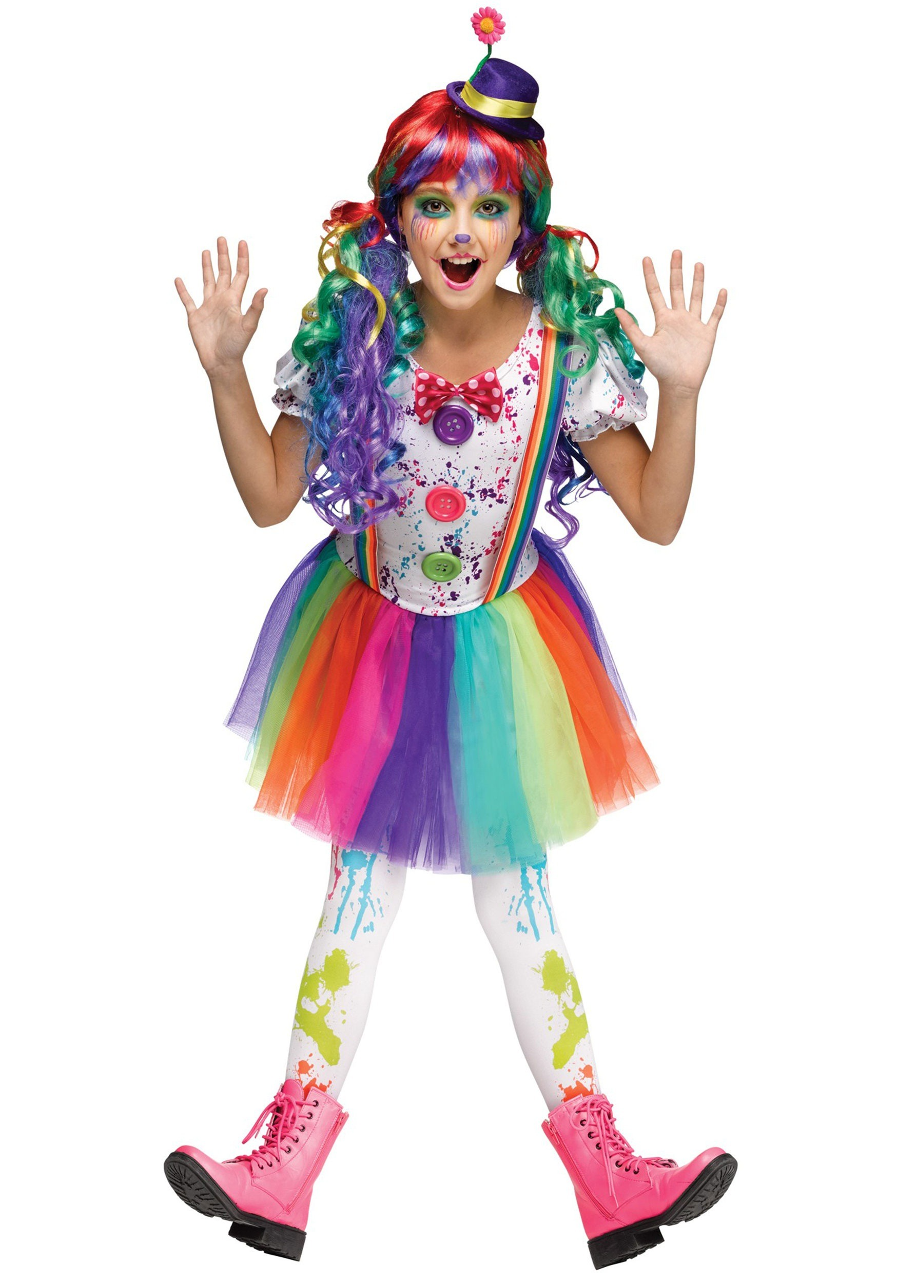 Girls Crazy Color Clown Costume  sc 1 st  Halloween Costumes & Clown Costumes - Adult Kids Clown Costume for Halloween