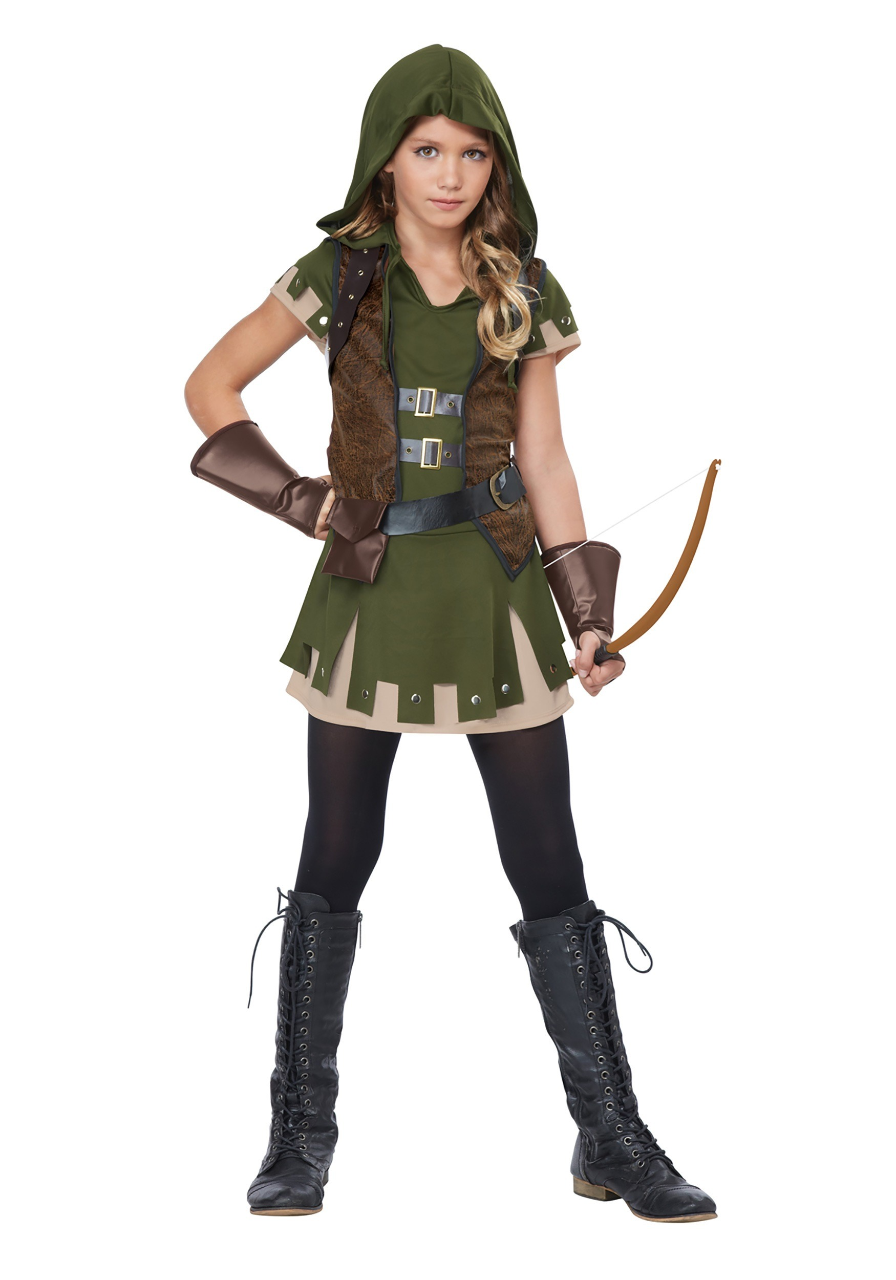 Girl 39 s miss robin hood costume for Cool halloween costumes for kids girls