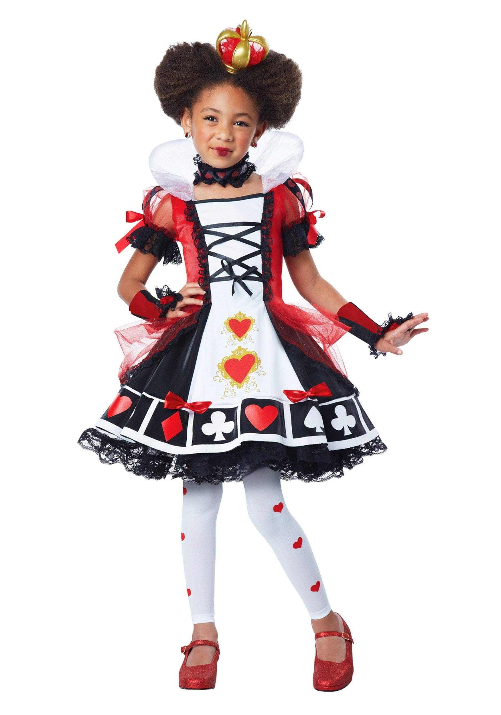 child deluxe queen of hearts costume. Black Bedroom Furniture Sets. Home Design Ideas