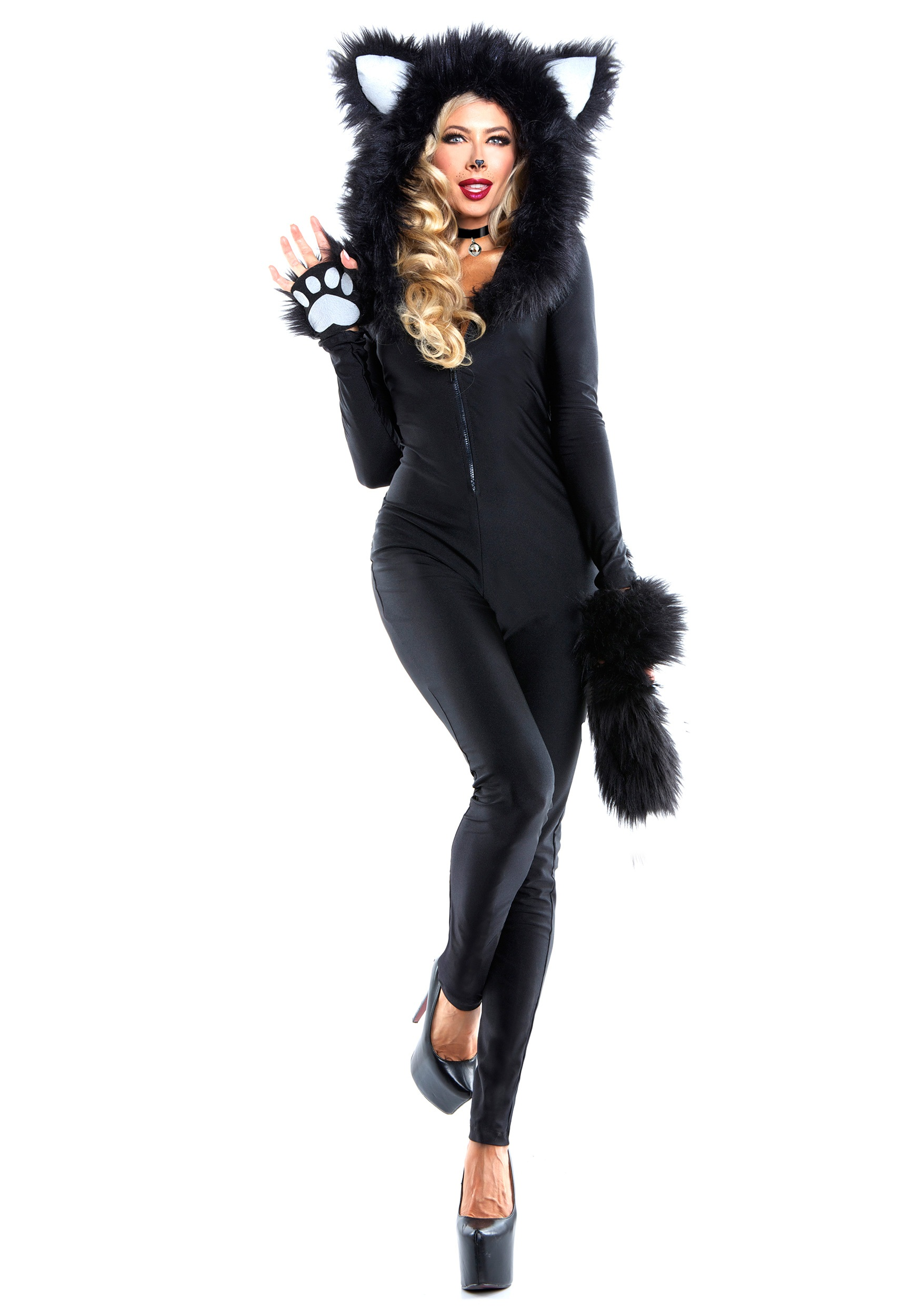 Womenu0027s Furry Feline Costume  sc 1 st  Halloween Costumes & Costumes on Sale - Cheap Discount Halloween Costume