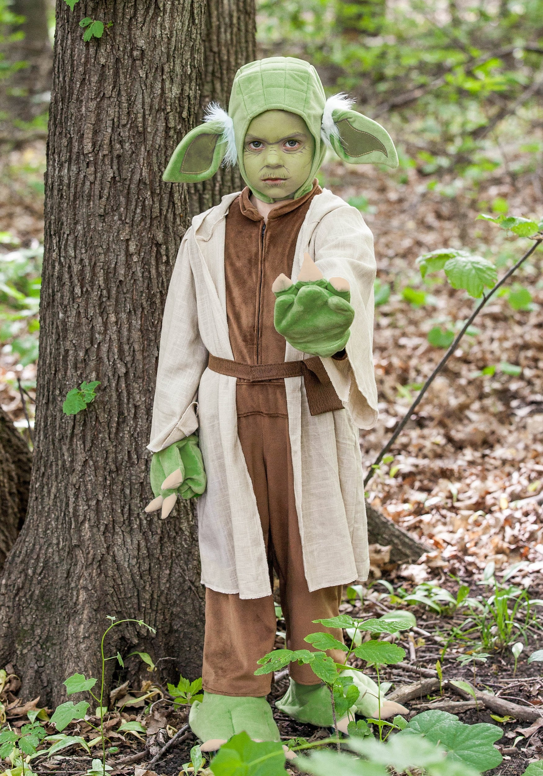 STAR WARS YODA KIDS COSTUME boys child set includes Jumpsuit Hooded Robe Headpiece Belt w/ Attached Pouch Pair of Gloves Pair of Booties