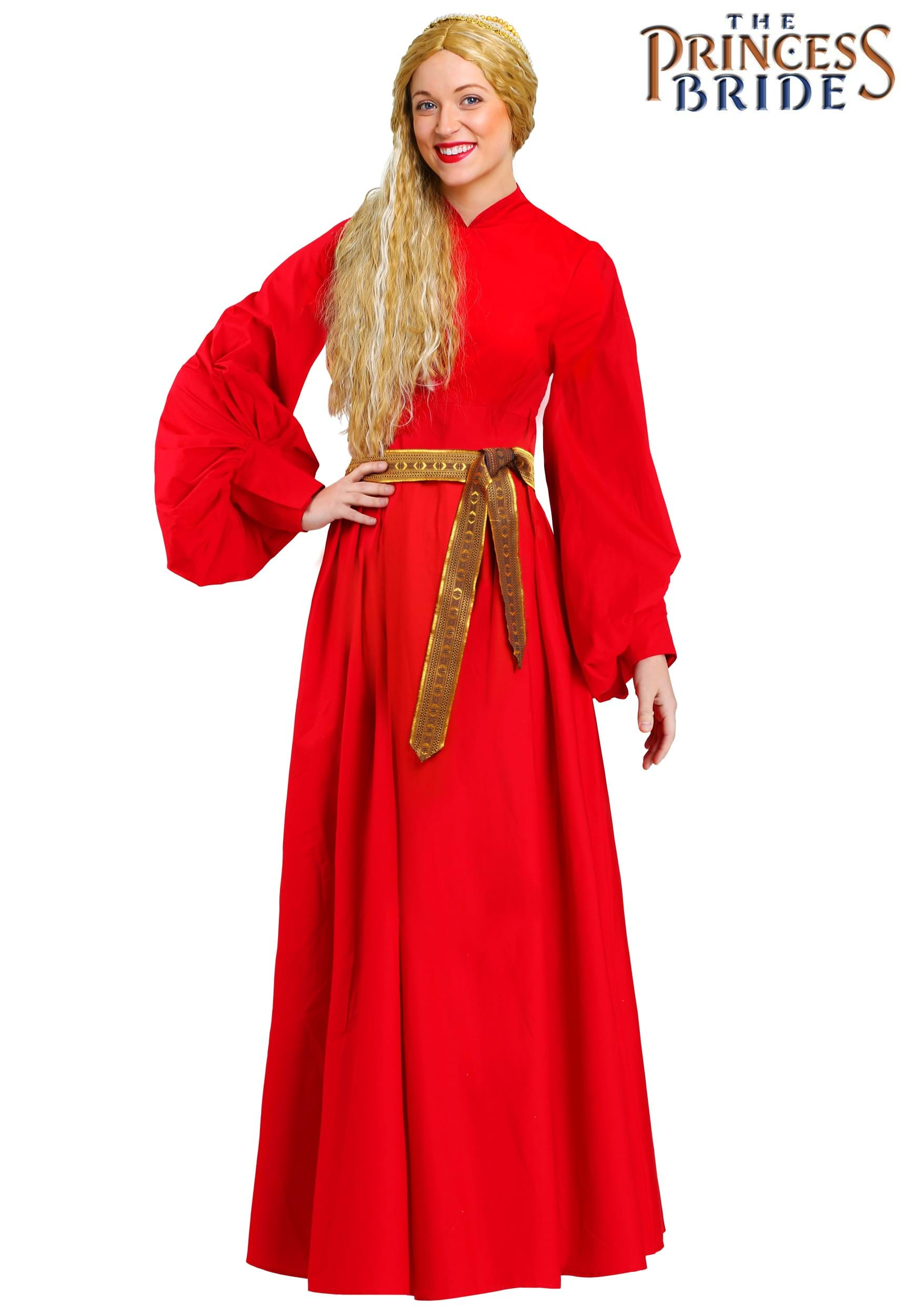 WOMEN'S PRINCESS BRIDE BUTTERCUP PEASANT DRESS COSTUME with red dress and belt
