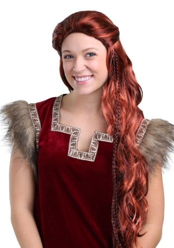 Womens Red Viking Wig