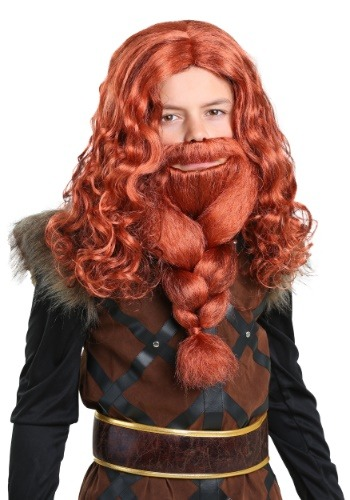 Kids Red Viking Wig and Beard Set