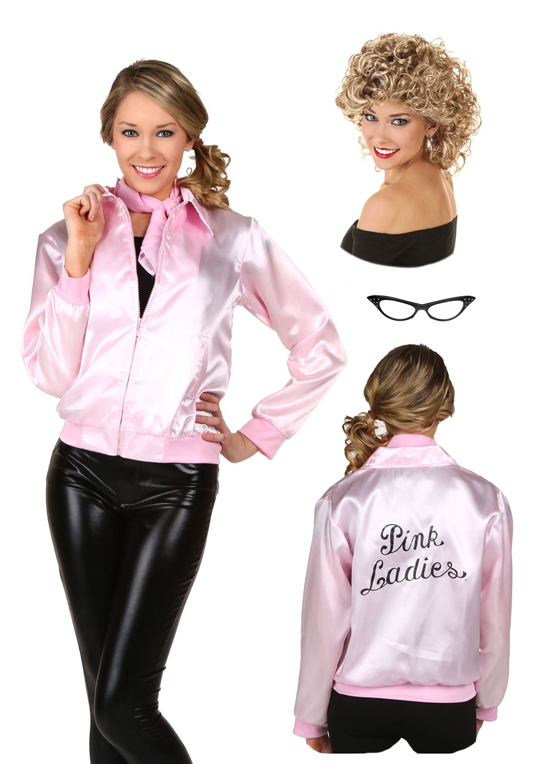 Womens Grease Pink Ladies Jacket And Sandy Wig