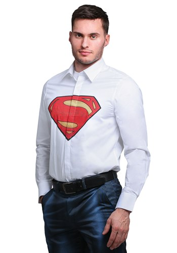 Click Here to buy Superman Slim Fit Dress Shirt (Alter Ego) from HalloweenCostumes, CDN Funds