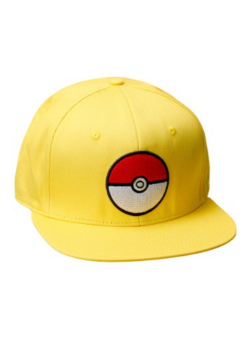Image of Pokemon Pokeball Trainer Yellow Snapback Hat