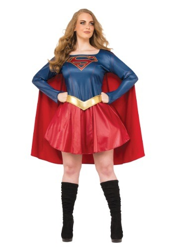 Click Here to buy Plus Size Supergirl TV Womens Costume from HalloweenCostumes, CDN Funds
