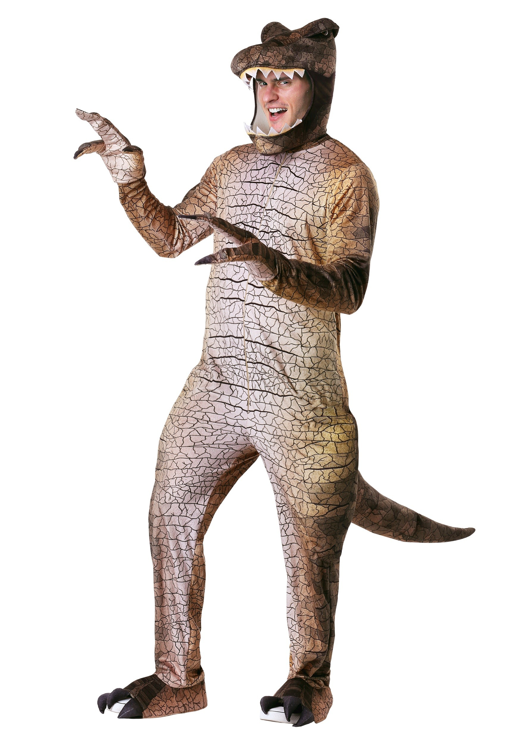 Adults Dinosaur Costume Jumpsuit Prehistoric Mens Womens Fancy Dress Outfit